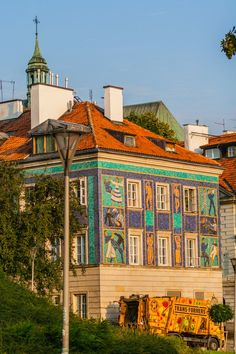 Richly ornamented tenement house, Mostowa street, the New Town of Warsaw, Poland