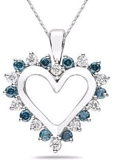 applesofgold.com - 1 Carat Blue and White Diamond Heart Pendant $759.00