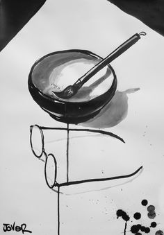 ♥ louijover: the zen of my glasses and brush Zen Brush, Brush Type, Chinese Brush, Zen Meditation, Ink Wash, Japanese Art, Glasses, Painting, Japan Art