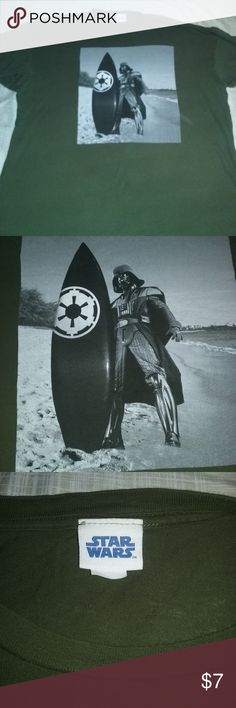 Star Wars Surfing Darth Vader Dark Green Tee 2XL Mens Dark Olive Green Tee with Surfing Darth Vader on the Front. Great condition, no holes or tears. Non smoking home. You make a bundle I will make you a deal. Star Wars Shirts Tees - Short Sleeve