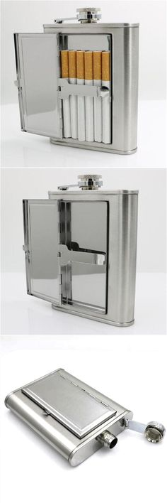 [Visit to Buy] 6 ounce Stainless Steel Cigarette case Hip Flask Included Funnel Flagon Wine Pot Liquor Alcohol Drinkware bottle outdoor tools #Advertisement