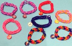 8 My Little Pony inspired rainbow loom rubber bracelet party favor set with charms (set of 8) on Etsy, $9.95