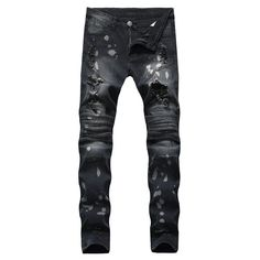 Fashion Biker Jeans for Men Ripped Distressed Destroyed Jogger Jeans Teen Boys Washed Slim Fit Tapered Leg Denim Pants (Black, - Kokania - Best Online Store Flynn Rider, Biker Jeans, Denim Pants, Denim Overalls, Men's Jeans, Mens Casual Jeans, Men Casual, Folding Jeans, Streetwear
