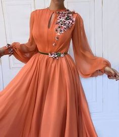SuperKimJo Long Sleeve Prom Dresses 2020 Orange Chiffon flowers Elegant Prom Gown Vestido De Festa De Longo-in Prom Dresses from Weddings & Events on AliExpress Prom Dresses Long With Sleeves, Long Prom Gowns, Cheap Prom Dresses, Formal Gowns, Dress Formal, Long Dresses, Fall Dresses, Orange Evening Dresses, Muslim Evening Dresses
