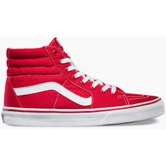 Vans Sk8-Hi Shoes ($60) ❤ liked on Polyvore featuring men's fashion, men's shoes, men's sneakers and red