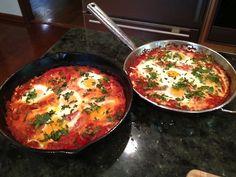 Shakshuka: low FODMAP style-feta, eggs, tomatoes sauce!