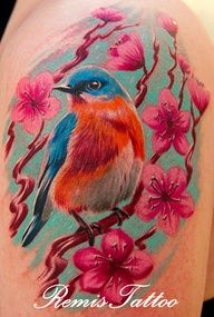 Bird, flower, color, tattoo, amazing, epic, beautiful, tattoos, shoulder, arm