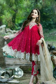 Buy Imrozia Chiffon Vie Adorée Collection – 07 -The Scarlet Dame featuring Aiman Khan at YourLibaas. Shop online for Original Party Wear Pakistani Chiffon Suits in India. ✓ Cash On Delivery Pakistani Fashion Casual, Pakistani Dresses Casual, Pakistani Dress Design, Indian Dresses, Stylish Dress Designs, Stylish Dresses, Fashion Dresses, Pakistani Party Wear, Pakistani Wedding Outfits