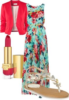"""""""Modest and Chic"""" Outfit. Floral maxi, pink blazer, and sandals."""
