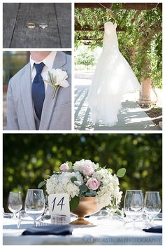 The rings were captured on a wine barrel: I just love the rustic element showcasing the wedding bands. The wedding dress was hanging from vines at the winery. I was in love with the simplicity of the design, including the white rose boutonniere and the gold bowl holding the centerpiece bouquet.