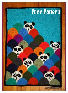 Circle Afghan Panda Blanket Free Crochet Pattern