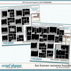 Cindy's Layered Templates - Fun Frames Summer Bundle by Cindy Schneider Frame Template, Scrapbook Templates, Summer Photos, Digital Scrapbooking, Frames, Layout, Memories, Make It Yourself, Words