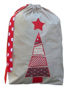 Patchwork Christmas Santa sack in red