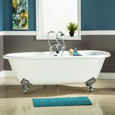 Cast Iron Double Ended Clawfoot Tub (No Faucet Drillings) (Polished Chrome), Polished Grey, Kingston Brass Cast Iron Bathtub, Claw Foot Bath, Soaking Bathtubs, Tub Faucet, Kingston Brass, Bathroom Fixtures, Clawfoot Bathtub, White Porcelain, Kitchen And Bath