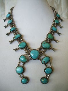 Classic Vintage NAVAJO Sterling Silver & TURQUOISE Squash Blossom NECKLACE.  TurquoiseKachina, $539.10