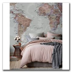 World Map Tapestry Bohemian Chic Bedroom Decor Idea