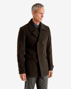 Herringbone wool peacoat - Dark Green | Jackets & Coats | Ted Baker UK