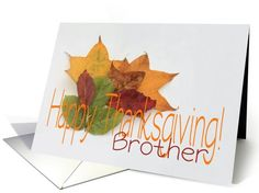 Happy Thanksgiving fall foliage greeting card for brother card