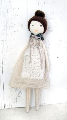 Cloth doll, Rag doll, handmade, retro, one of a kind/ Irena. $120.00, via Etsy.