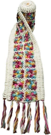 Links to all sorts of patterns & ideas Multicolored Crochet Flower Scarf. - Nirvanna Designs. Like the colors
