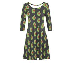 Greenery love apples fit and flare dress hearts geometric sixties print skater size xs s m l xl xxl black red unique print retro fruit apple by RedThanet on Etsy