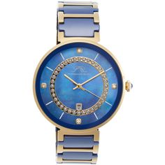 Porsamo Bleu Alexandra Stainless Steel & Mother Of Pearl Watch, 40mm ($259) ❤ liked on Polyvore featuring jewelry, watches, multi, blue jewelry, clasp bracelet, wide bracelet, mother of pearl watches и blue watches