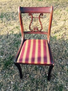 Mid Century Charlotte Chair Company Lyre Chair Harp Back