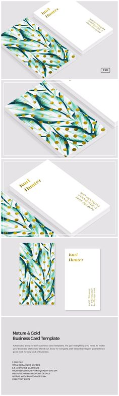 Nature & Gold Business Card Template by The Design Label on @creativemarket
