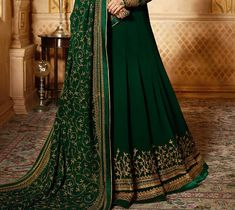 Dark Green & Gold Designer Embroidered Georgette Party Wear Anarkali S – Saira's Boutique Pakistani Formal Dresses, Pakistani Wedding Outfits, Saree Wedding, Indian Designer Outfits, Indian Outfits, Indian Clothes, Emerald Green Top, Green And Gold, Gold Outfit