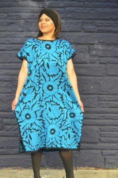 Vibrant Blue Mexican Hand Embroidered Dress / Huipil / Tunic from Jalapa de Diaz. Very unique you can wear this for special occasion