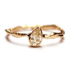 Pear shape diamond branch ring, by Nadine Kieft Jewelry
