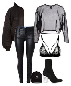 My type of outfit minus the hat. Bad Girl Outfits, Teen Fashion Outfits, Hot Outfits, Grunge Outfits, Stylish Outfits, Winter Outfits, Clubbing Outfits, Looks Black, Polyvore Outfits