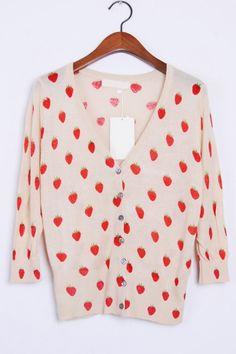 Strawberry Print Button-up Cardigan