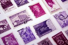 100 Vintage Postage Stamps Shades of Violet Purple Pink Mixed Media Collage Collectibles Card Making Resin Jewelry Scrap book Art & Crafts