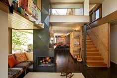 Upstairs downstairs flow with opened up staircase