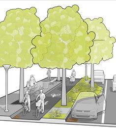 Trees are not forgotten in Mass DOT's Separated Bike Lane Guide. Click image for link to full guide and visit the slowottawa.ca boards >> http://www.pinterest.com/slowottawa
