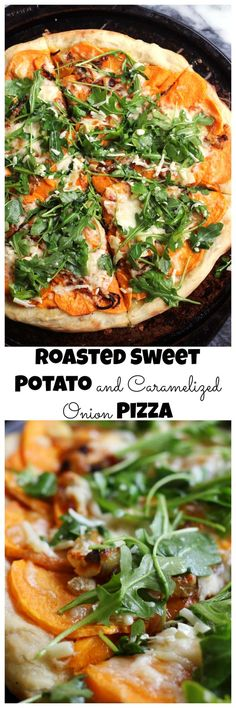 Sweet potatoes and caramelized onions top this one of a kind pizza that gets a dose of fresh flavor from a lemony arugula salad.:
