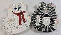 "Pair of Cats By Nina Lyman 9 1/2"" Serving Plates, Gray Tabby & Black / White"