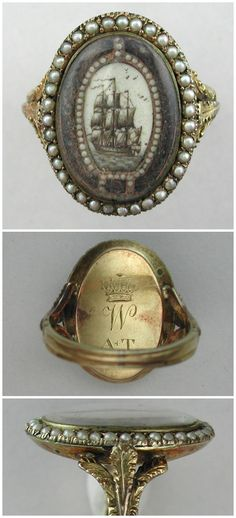 An incredible antique mourning ring with a ship, hairwork, and pearls. For a wonderful analysis of the meaning and history of this piece, click through to the full article.