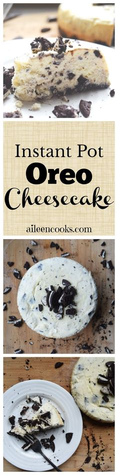 I made this oreo cheesecake in my instant pot and it was so good! If you have a pressure cooker, then you need to try this recipe for instant pot Oreo cheesecake. This is the perfect sweet dessert recipe to make in your instant pot! via @aileencooks