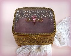 Antique  Jewelry Casket  - Vintage Beveled Glass Ormolu Trinket Box - Rhinestones Pearls Filigree Embellishment  - Dresser Box
