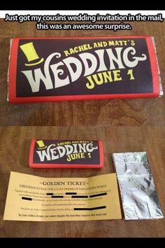 Willy Wonka wedding invitations. Adorable!