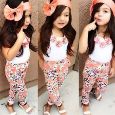 Floral Kids Baby Girls Sets Clothes Sleeveless Tops T-shirt + Floral Pants +Hairband Summer Sets Set - Kid Shop Global - Kids & Baby Shop Online - baby & kids clothing, toys for baby & kid Little Girl Outfits, Little Girl Fashion, Toddler Fashion, Toddler Outfits, Boy Fashion, Fashion Ideas, Fashion Clothes, Fashion Purses, Fashion Tights