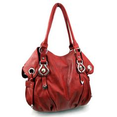 "New York Hobo Handbag - by: OMG Styles - color: Red & Silver - size: 14"" L x 12"" H x 5"" W - handle drop: 10"" - material: Faux Leather - $36.95"
