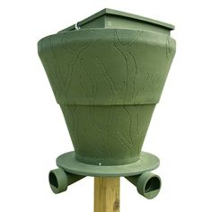 The single post design of this gravity-fed deer feeder allows big bucks to feed unhampered and unharmed by multiple legs getting in the way Gravity Feeder, Deer Feeders, Trading Company, Banks, Hunting, Outdoors, Outdoor Rooms, Off Grid, Outdoor
