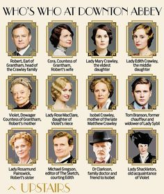 Who's who at Downton Abbey (upstairs)