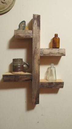 wall shelf reclaimed wood weathered look