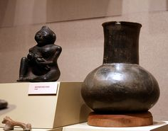Mississippian Culture copper statue and pot from the 1300's C.E. (North America)