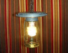 RECYCLED UPCYCLED Early Ball Fruit Jar Galvanized Chicken Feeder Pendant Light - Repurposed Country Chic!