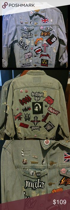 Men's Medium Denim Jeans Battle Jacket Punk Goth Awesome 80s 90s size medium denim Jean battle jacket.   This jacket is Brand New with tags. Cool jacket adorned with Rock embroidered patches, pins, and pop culture brooches. Underground Streetwear DIY Jackets & Coats Vests